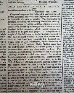 Rare CONFEDERATE New Orleans LA Louisiana Civil War 1862 Newspaper with Jeff Davis