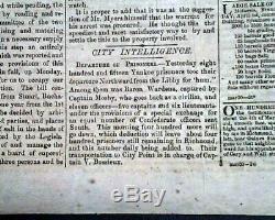 Rare CONFEDERATE Richmond VA Virginia Civil War 1861 Newspaper re. The Future