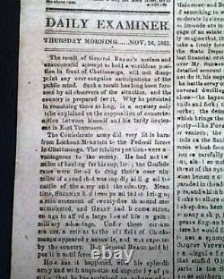 Rare CONFEDERATE VA with Battle of Lookout Mountain Bragg 1863 Civil War Newspaper