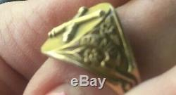 Rare Civil War 10k Gold Crossed Cannons Forget Me Not Ring