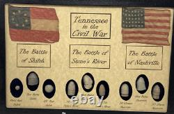 The Civil War Battles in Tennessee Bullets with Glass Topped Display Case & COA