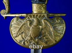 US Civil War Antique 19 Century Engraved Eagle Head Officer's Sword with Scabbard