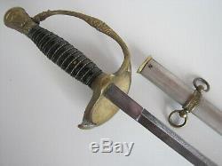 US Civil War Model 1860 Staff & Field Sword withScabbard-J. A. E Dayton O