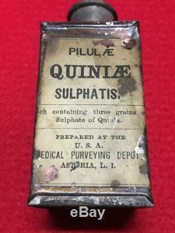 U. S. Civil War era Medal Quinine Tin Bottle