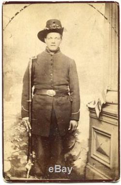 Union Civil War Soldier Rifle Bayonet Flag Hardee Hat DuBois Pennsylvania Photo