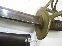 Us CIVIL War Model 1860 Cavalry Sword With Scabbard Scrace Millard Maker