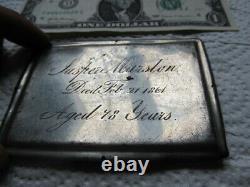VERY Rare Antique Silver Civil War Coffin Plate, Casket, Funeral, 1861, MARSTON
