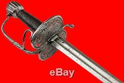 Very Good 17th C. English Civil War era WALOON Rapier Sword, Fine Pierced Guard