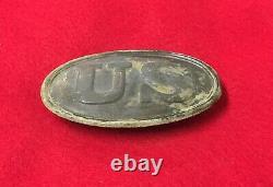 Very Nice Dug US Civil War Cartridge Box Plate Buckle Both Hooks Full Lead Relic