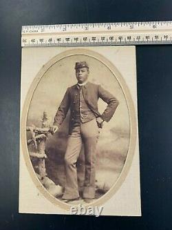 Very Rare Albumen of African American Soldier USCT Sharp Image 5x7 Civil War