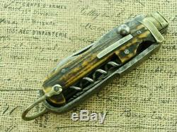 Vintage 1861 G Butler&co Art England Stag Horseman CIVIL War Pocket Knife Knives
