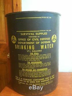 Vintage Cold War Relic Office of Civil Defense Metal Drinking Water Drum Barrel