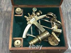 Vintage Royal Navy Nautical Sextant (by Henry Hughes Son Ltd. London)