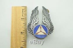 World War II Sterling Silver Large Enamel Officer Civil Air Pilot CAP Wings Pin